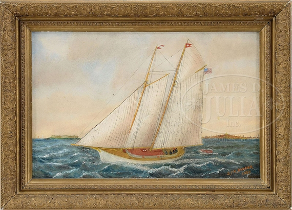 Artwork by Solon Badger, PORTRAIT OF A TWO-MAST SCHOONER, Made of Oil