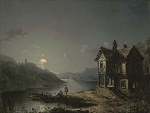 Artwork by Sebastian Pether, Anglers along a moonlit river, Made of oil on canvas laid down on panel