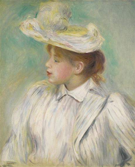 renoir pierre auguste jeune femme au chapeau de paille 1890 mutualart