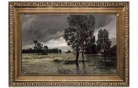 Artwork by Adolf Stäbli, Heavy floods, Made of oil on canvas