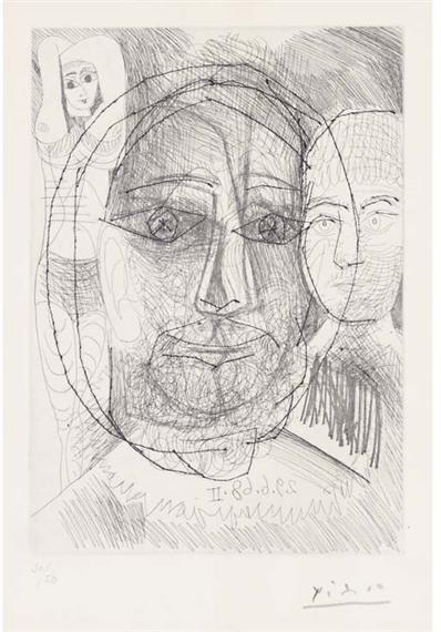 Picasso Pablo | Homme, Femme et Enfant, Etude pour le Portrait d\'El ...