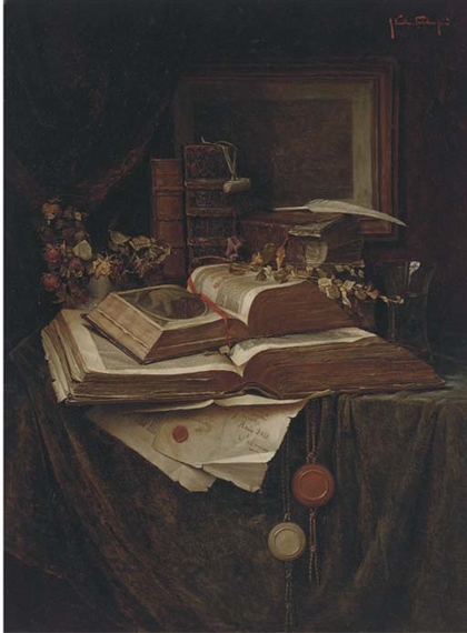 Grete Kalla Priechenfried Books Roses And A Vase Of Water On A