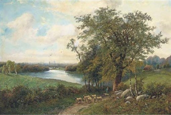 A shepherd with his flock on a riverside track By Octavius T. Clark