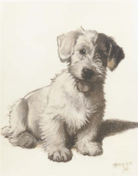Artwork By Cecil Aldin A Sealyham Terrier Made Of Ink Watercolour And Crayon