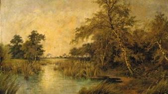 A tranquil river landscape By Octavius T. Clark