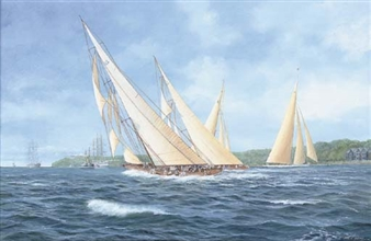 Astra, Candida and Shamrock (V) racing off Cowes, 1934 By John J. Holmes