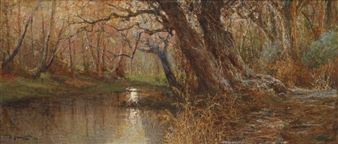 Autumnal Landscape with Stream By Raffaele Armenise