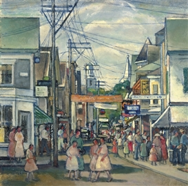 Artwork by Nancy Maybin Ferguson, Provincetown Procession, Made of oil on board