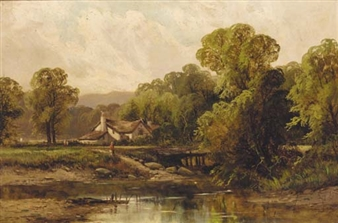 Figures before a cottage in a wooded river landscape By Octavius T. Clark