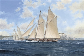 Kirin racing off the Needles, 1913 By John J. Holmes ,1913