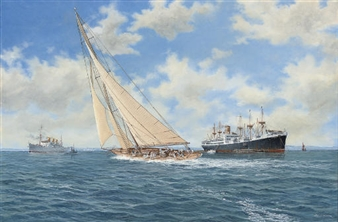 Britannia racing to leeward of the P. & O. liner Strathaird and the Federal Steam Navigation Company's Rotorua By John J. Holmes