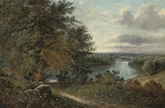 A wooded river landscape, a town beyond By Octavius T. Clark