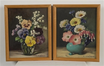 2 works:  FLORAL STILL LIFES By Mae Bennett Brown