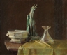 Maurice Compris, STILL LIFE WITH GARGOYLE FIGURINE AND VASE AND COMPOTE