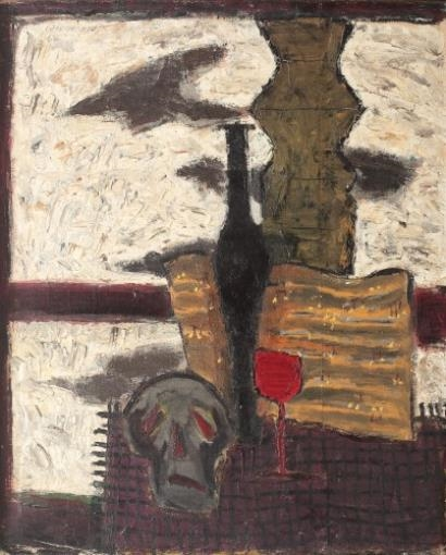 Gheorghiu Ion Poor Yorick And A Glass Of Red Wine 1965 Mutualart