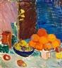 Karl Oscar Isakson, Nature morte med påskeliljer, appelsiner og æbler i blå skål