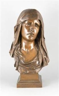 Lebensgroße Büste der Maria By Eugène Marioton