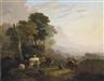 Julius Caesar Ibbetson, Travellers on the road with cattle grazing