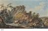 Johann Heinrich Wüest, Paysan endormi au bord d'une rivière; et Couple de paysan accompagné d'un jeune garçon jouant du pipeau