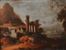 Continental School, 19th Century, 2 Works: Figures in a Landscape with Ruins