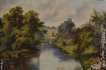 River Landscape with Warwick Castle By Octavius T. Clark