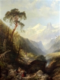 Alpine landscape with women beside a stream