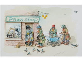 2 works; Tramps pawn shop; Children playing in a school yard By Albin Trowski ,1988