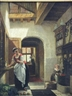 Continental School, 19th Century, A Kitchen Interior with a Mother and Child