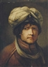 Rembrandt, Portrait of a gentleman, bust-length, wearing a turban, and a gold embroidered rust coat
