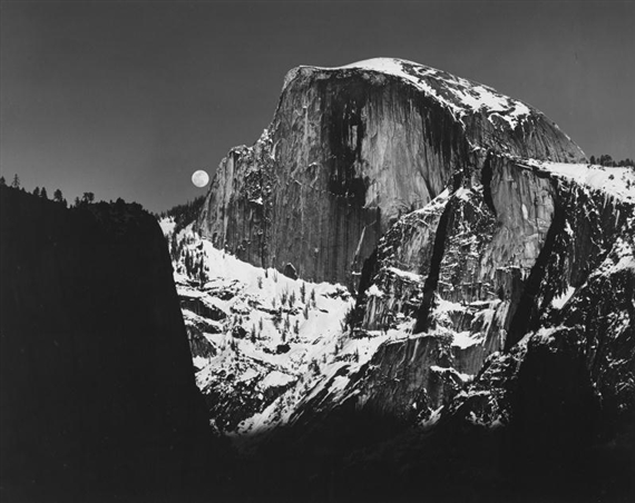 Adams Ansel Moonrise Half Dome Yosemite Valley Mutualart
