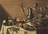 Pieter Claesz, 'Roemers' on a pewter plate, a crab, a pewter jug, a bowl of various berries, bread and apples, all on a partially draped table