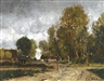 László Paál, LANDSCAPE WITH COTTAGE
