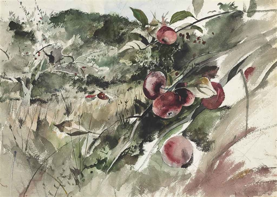 Artwork by Andrew Wyeth, Picking Apples, Made of watercolor and charcoal on paper laid down on board