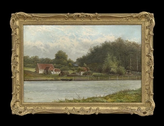 River Landscape with Cottages By Octavius T. Clark