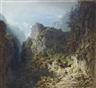Carl Spitzweg, Berglandschaft mit Liebespaar (Jäger und Mädchen)