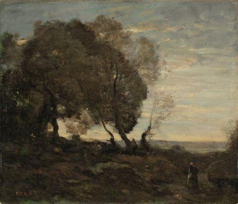 Artwork by Jean Baptiste Camille Corot, ARBRES TORDUS SUR UNE CRÊTE (SOLEIL COUCHANT), Made of Oil on canvas