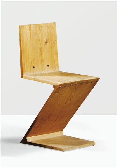 Gerrit rietveld 2 works fauteuil et table basse for Chaise zig zag