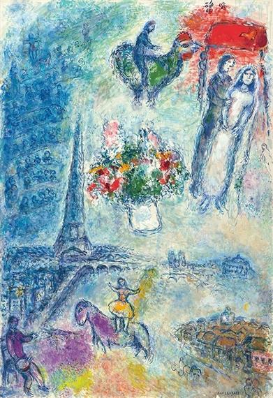 Chagall Marc | Les mariés dans le ciel de Paris (1980 - 1981 ...