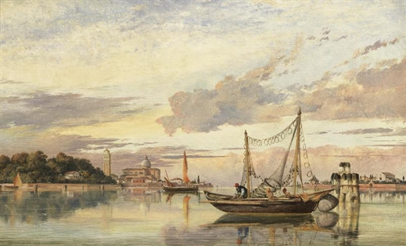 Edward William Cooke, The Venetian lagoon at Sunset