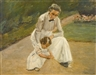 Max Liebermann, ENKELIN UND KINDERFRAU BEIM SPIEL IM GARTEN (THE ARTIST'S GRANDDAUGHTER AND HER NURSE PLAYING IN THE GARDEN)
