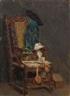 Max Liebermann, Stillleben – Alter Stuhl, Dreimaster, Buch mit Siegel
