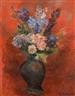 André Lanskoy, Bouquet de fleurs sur fond rouge