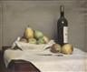 Odgen M. Pleissner, Still Life with Pears, Wine Bottle and a Knife