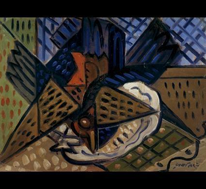 'Cocks on the Table' by Ramkinkar Baij.  Oil on cardboard.