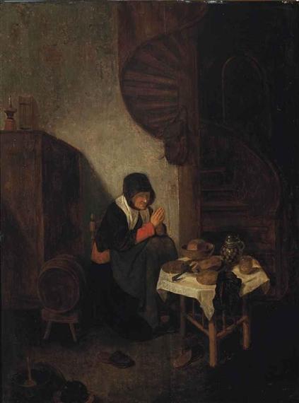 Van Brekelenkam Quirijn An Interior With An Old Woman In Prayer