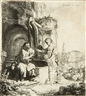 Rembrandt, Christ and the woman of Samaria among ruins, at a well