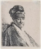 Rembrandt, Bust of a man wearing a high cap (the artist's father?)