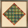 Victor Vasarely, Op Art in Diamond Shapes in Shades of Red and Green