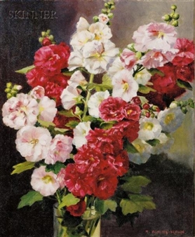 Still Life with Hollyhocks By Mae Bennett Brown