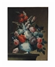 Continental School, 19th Century, Still life of flowers in a vase on a ledge